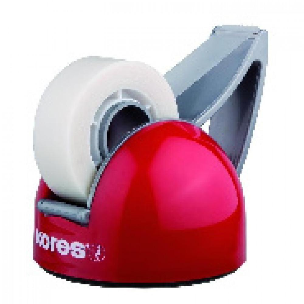Диспенсер для клейкой ленты канцелярской KORES DeskPot красный, +кл.лента ?