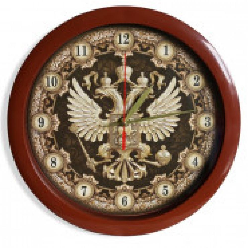 Часы настенные круглые Герб (коричневый обод)
