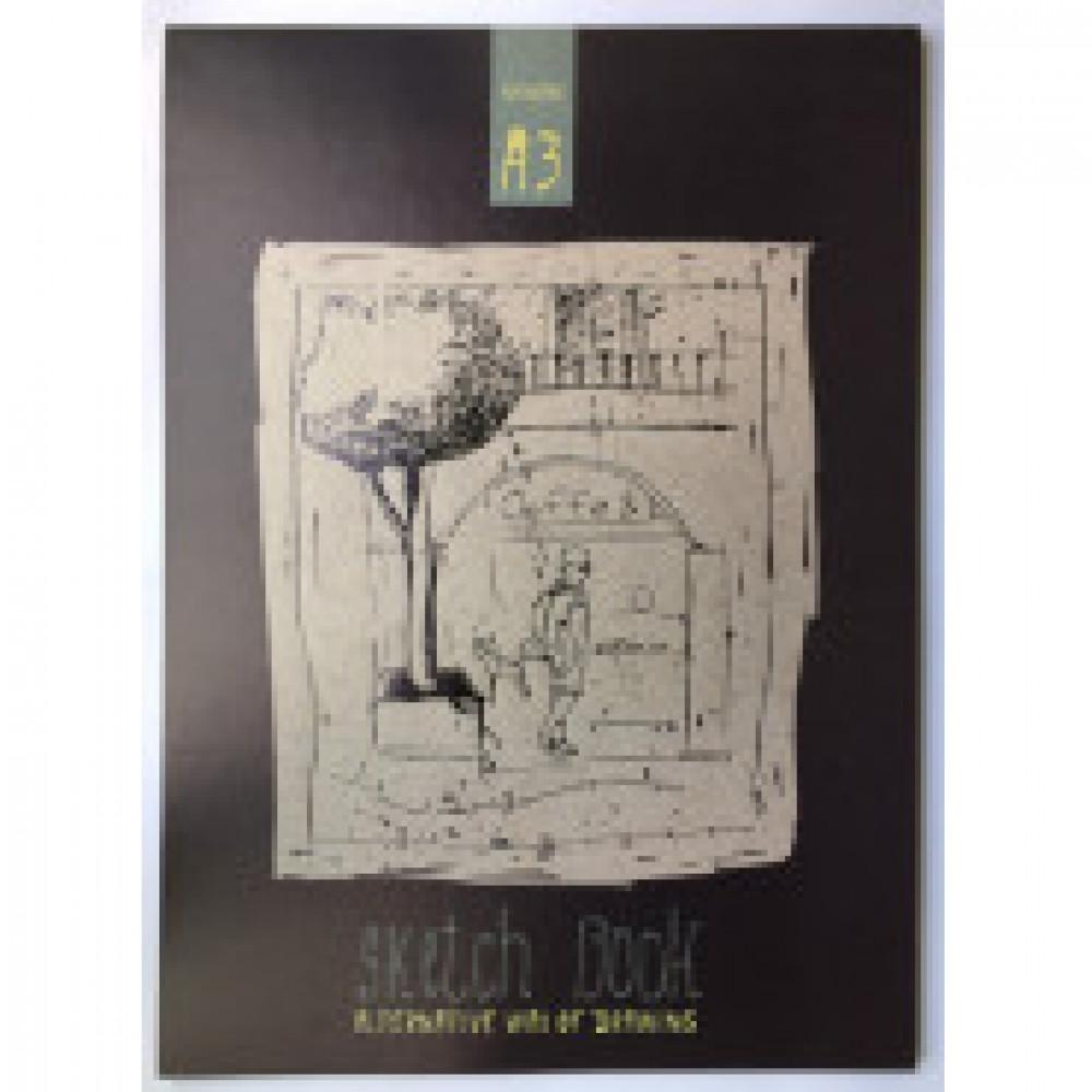 Альбом для рис. и эскизов А3,40л,склей,карт.подлож,бл.крафт 80г,05190