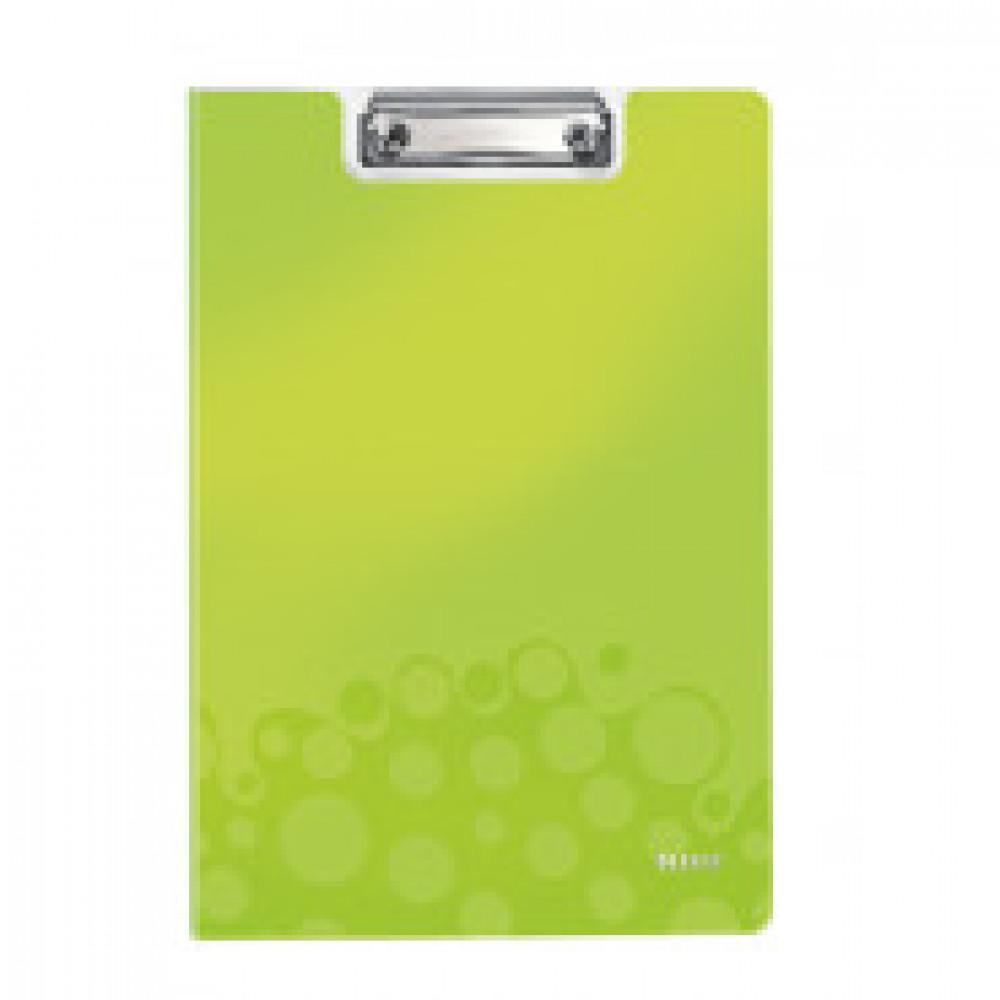 Папка-планшет с зажимом и крышкой Leitz Wow A4 пластиковая зеленая