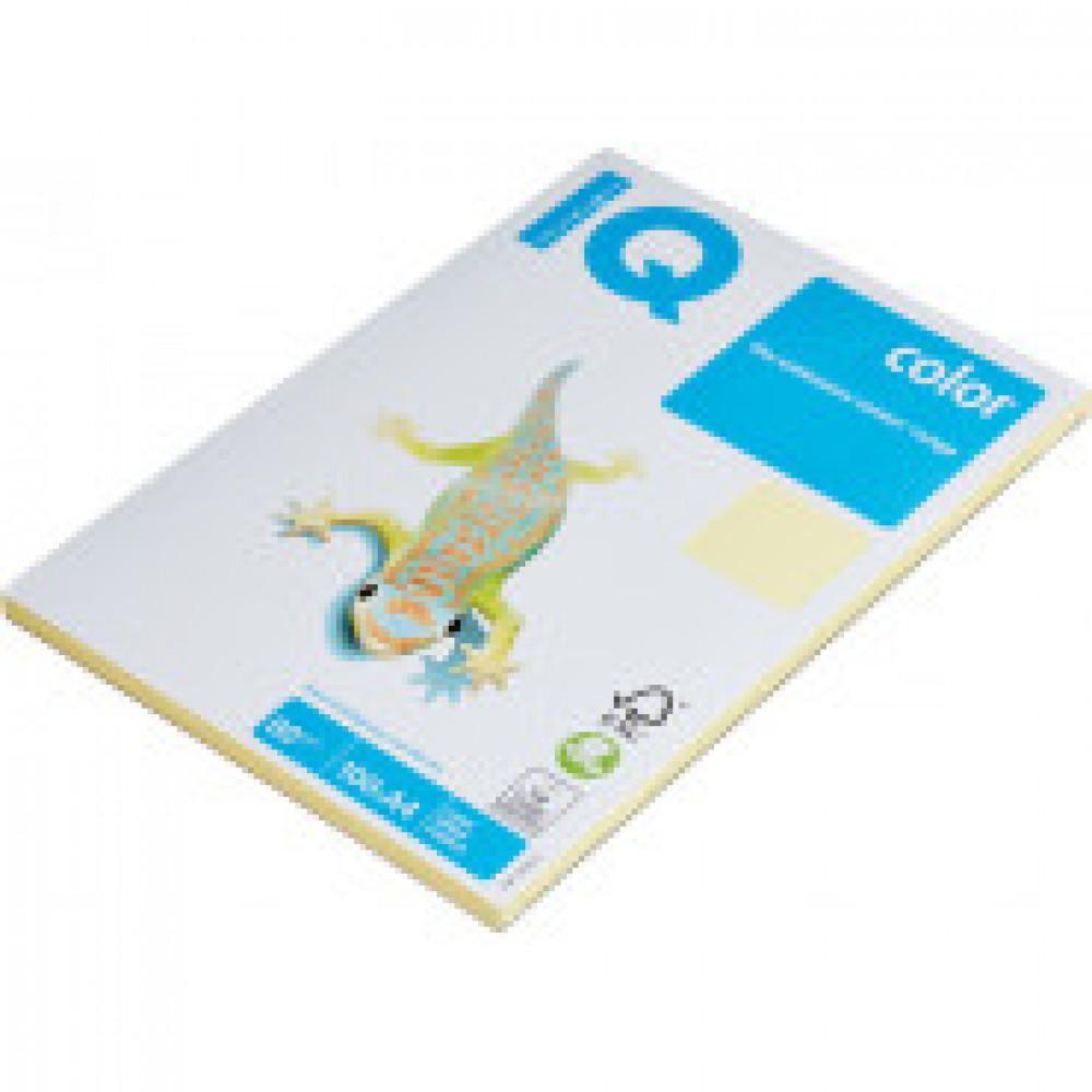 Бумага цветная IQ COLOR (А4,80г,YE23-желтый) пачка 100л.