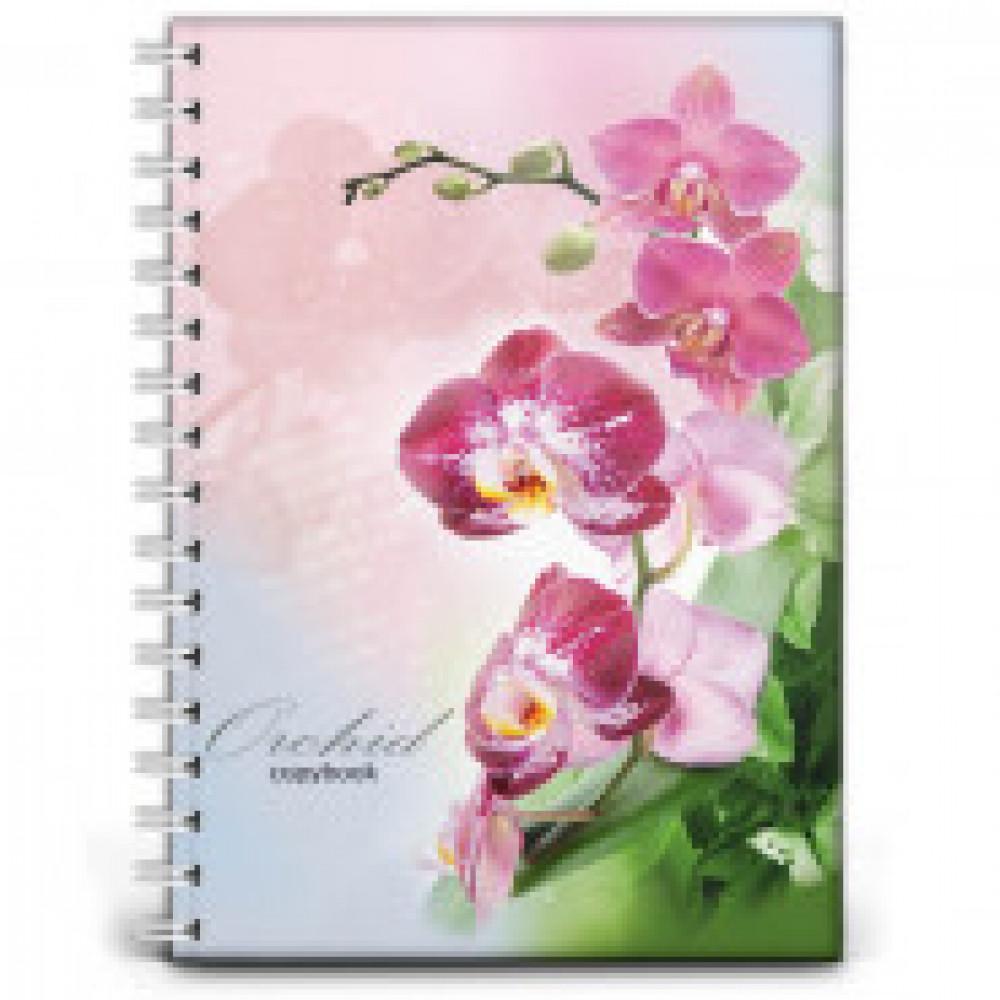 Бизнес-тетрадь 120л,кл,А4,Орхидея,гребень,глянц.ламинир(120-8106)
