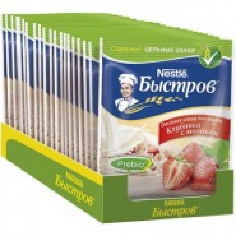 Каша Nestle Быстров овсяная клубника с молоком 17 штук по 40 г