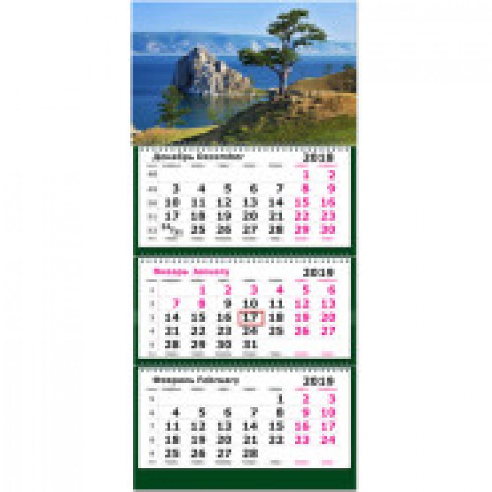 Календарь настен, 2019, 305х675, Горная Сосна.Байкал, 3 спир,80г/м2,KB