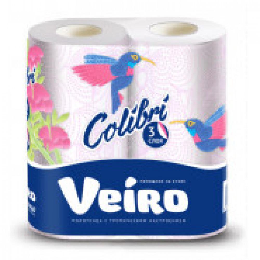 Полотенца бумажные VEIRO Colibri 3-сл.,белые с гол.тиснением,2рул./уп.8п32