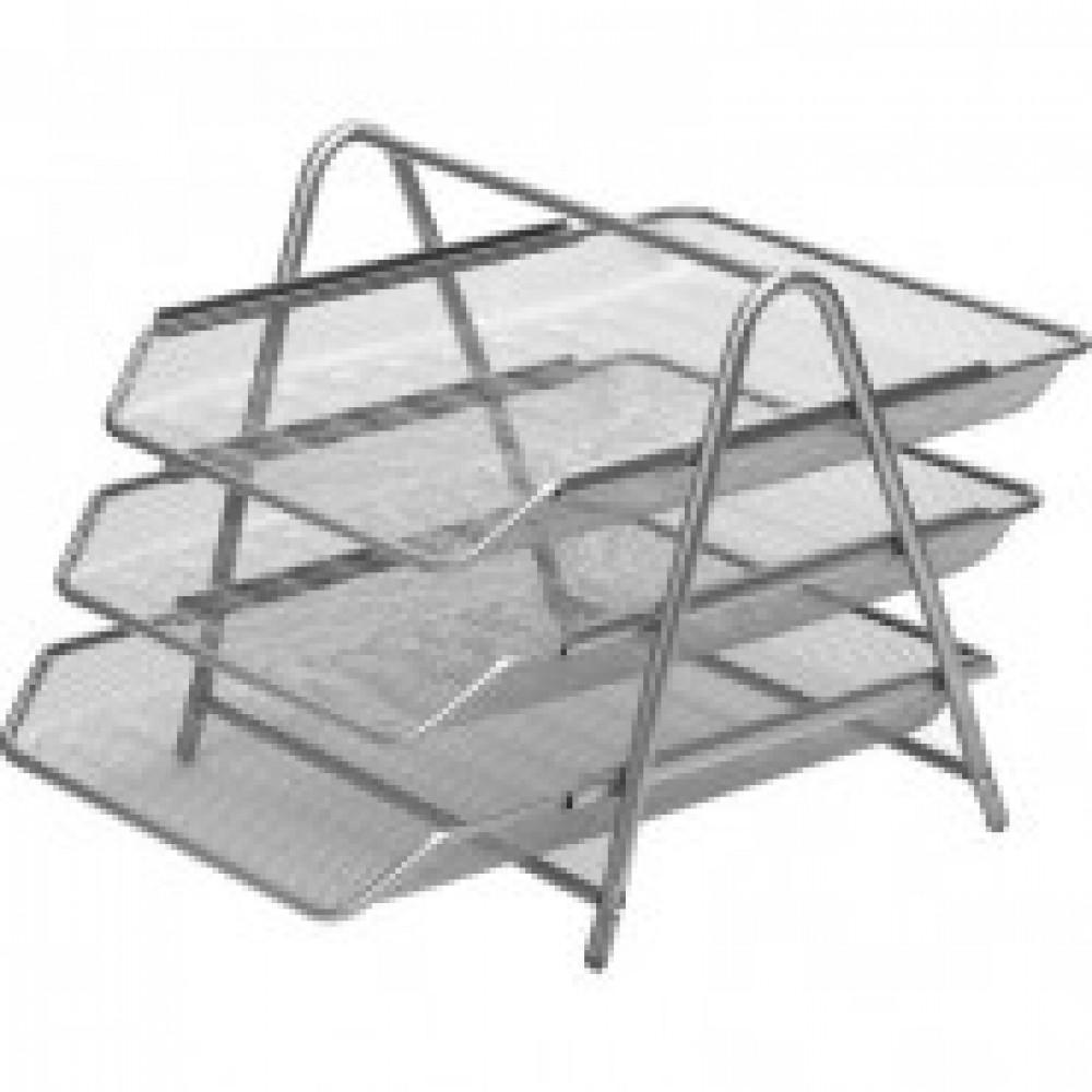 Лоток для бумаг Attache 3х секц. горизонт.,металл. сетка, выс.267мм(серебр)