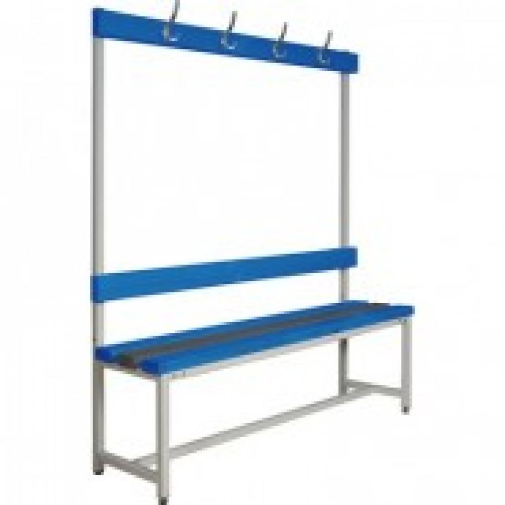 Метал.Мебель К_СКП-1В-1500 скамья со спинк и веш,пластик,1500х390х1670