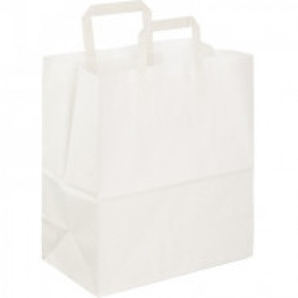 Пакет бум крафт бел с плоской руч 280x150x320мм(ECOCarrBagPLWHITE)250шт/уп