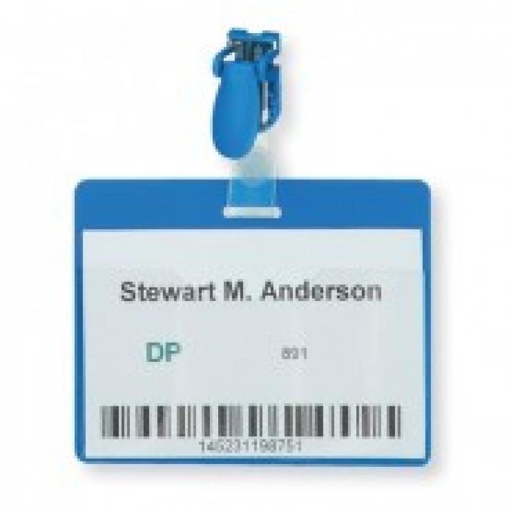 Бейдж 90х60мм DURABLE пластик клип (25шт) синий ?8106-06