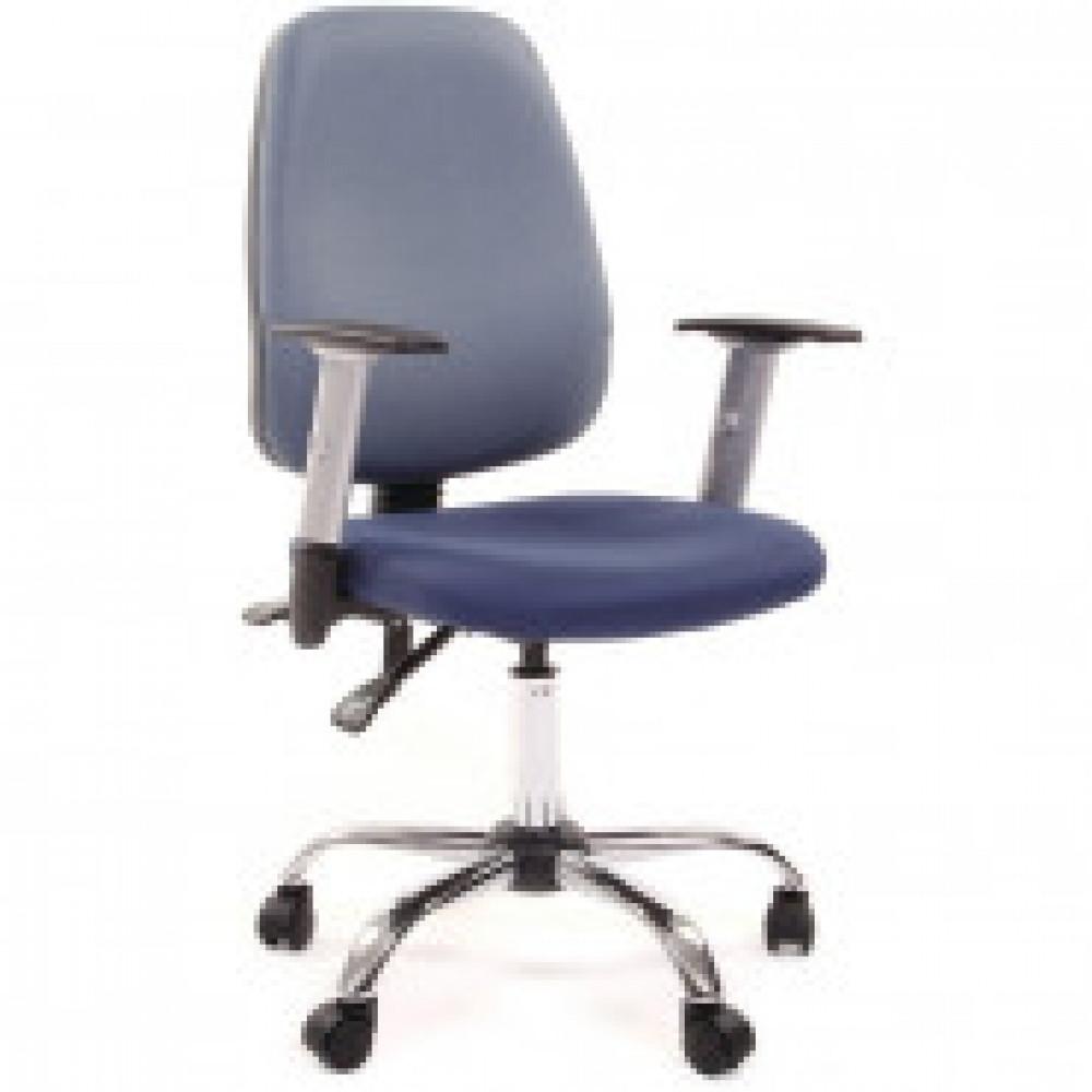 Кресло VT_EChair-214 AL ткань синяя/спинка голубая, хром