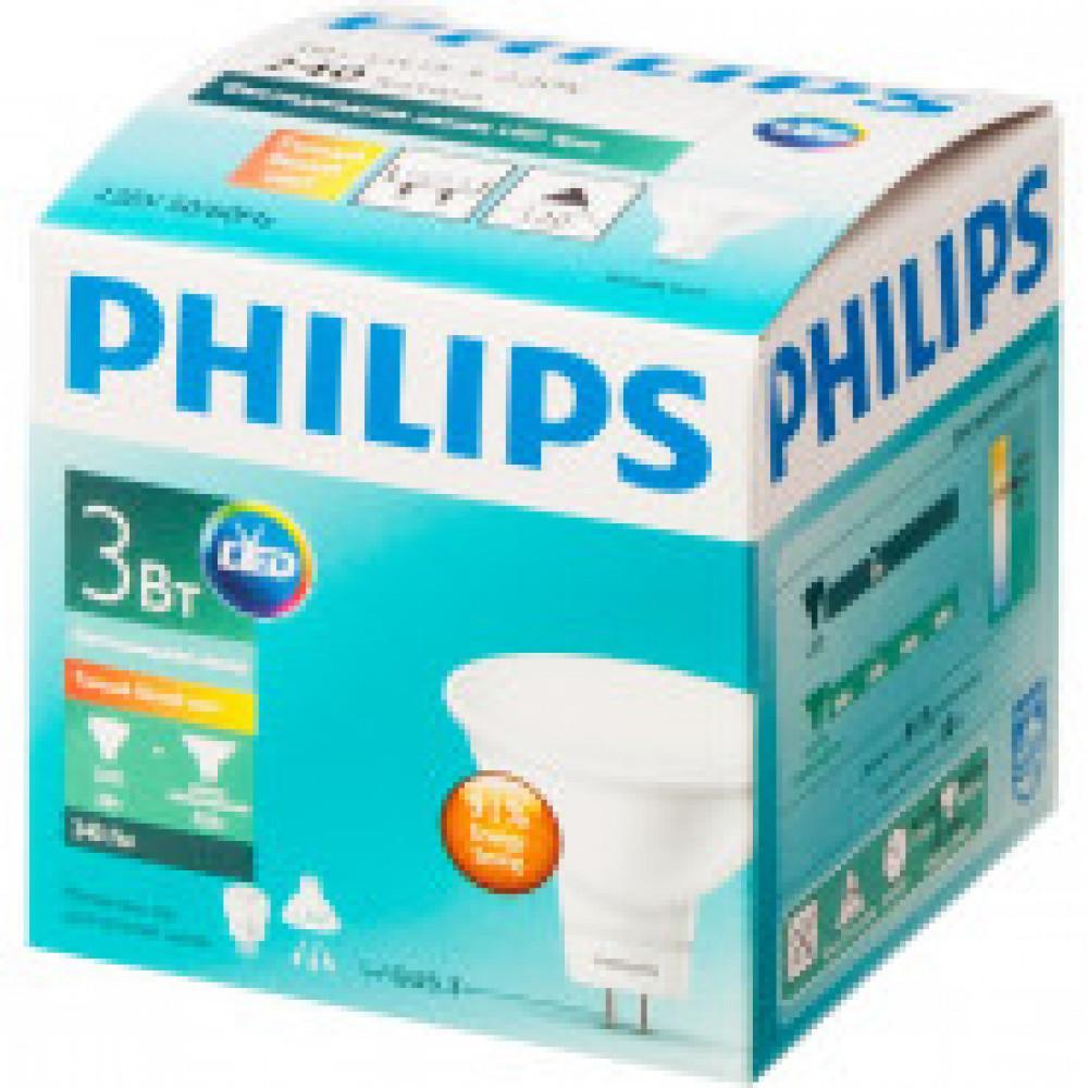Лампа светодиодная Philips 3-35W GU5.3 2700K тепл. белый спот