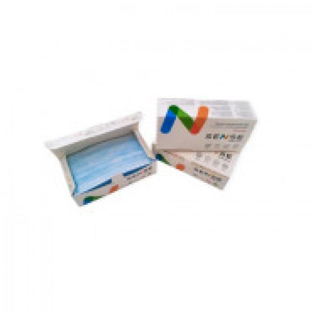 Маска медицинская 3-х сл.,резинка,голубая Sense, картон 50шт/уп