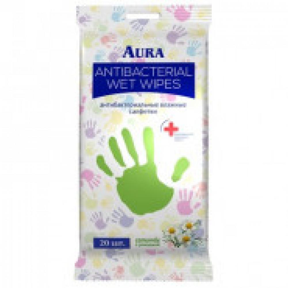 Влажные салфетки антибактериальные Aura 20 штук в упаковке