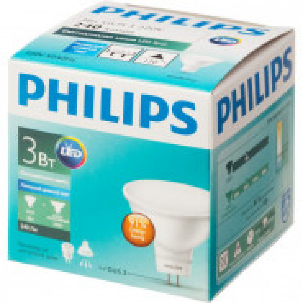 Лампа светодиодная Philips 3-35W GU5.3 6500K хол.бел. белый спот