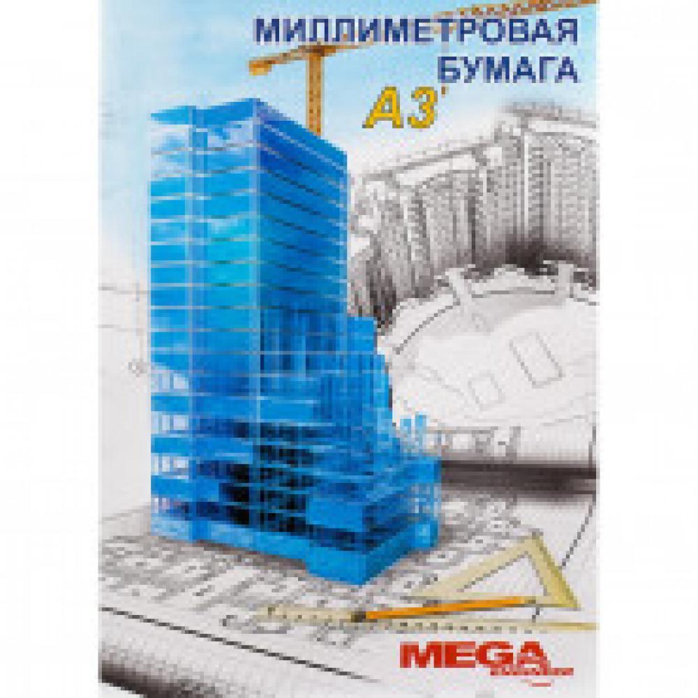 Бумага миллиметровая MEGA Engineer (А3,80г,голуб)20л/пачка