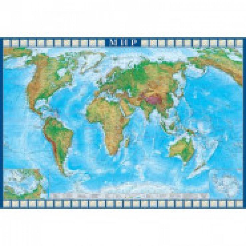 Настенная карта Мир физическая 1:22млн.,1,57х1,07м.