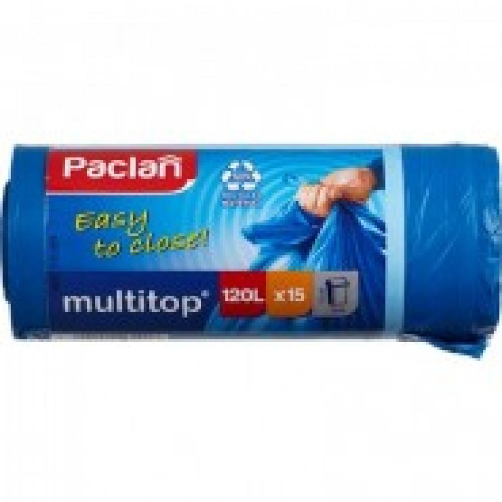 Мешки для мусора на 120 литров с завязками Paclan multitop синие (24 мкм, в рулоне 15 штук, 70x110 см)