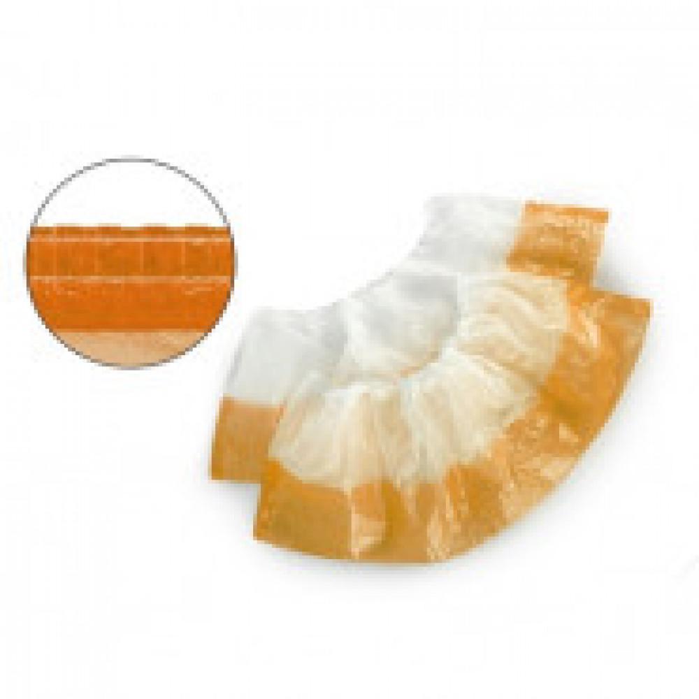 Бахилы н/с, п/э 2х слойные текстур. 3,5г бел-оранж. ЭГД-40/50/БО 50пар/уп.