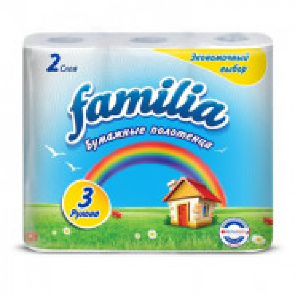 Полотенца бумажные Familia Радуга 2сл 3рул/уп