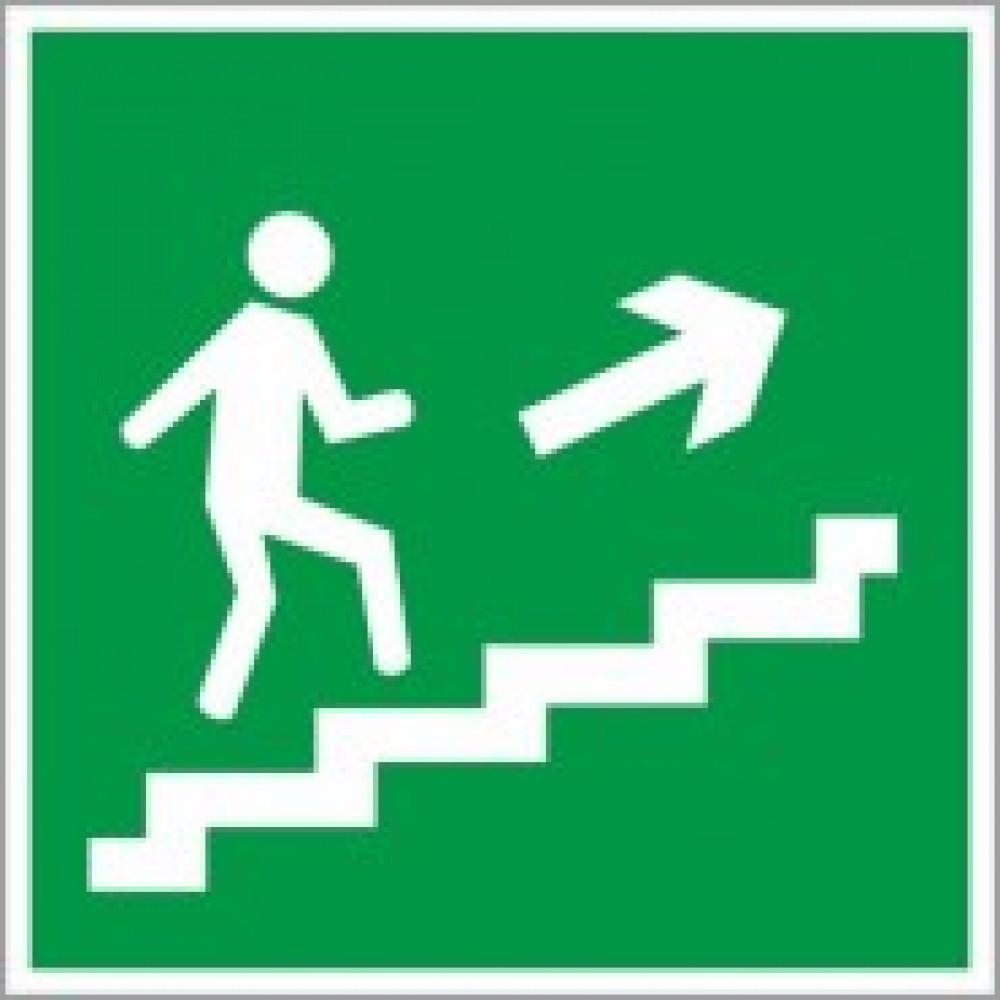 E15 Направление к эвакуац.выходу по лестнице вверх, правосторонний (пленка ПВХ, ф/л, 200х200)