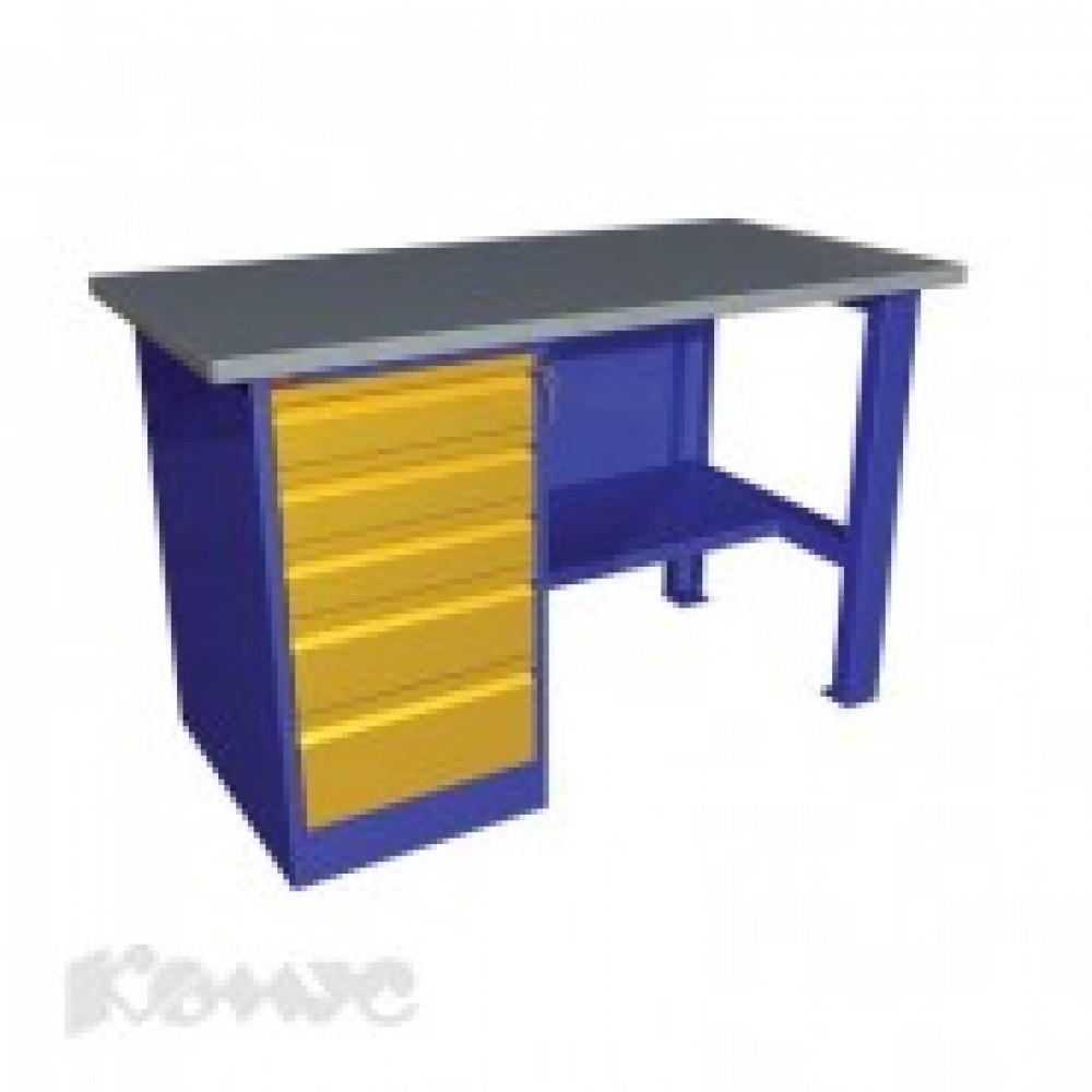 Метал.Мебель P_ВП-3 верстак однотумбовый, тумба с 5 ящ., 1390х685х860