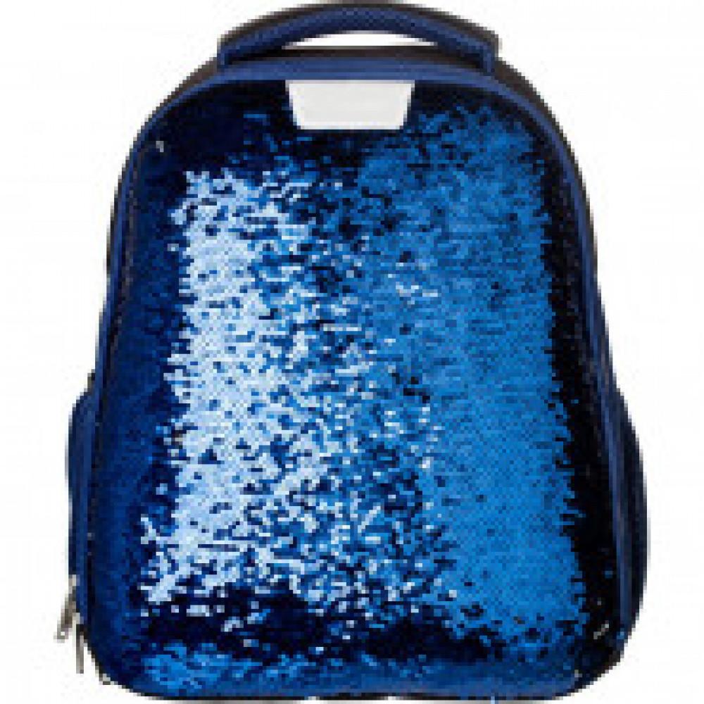 Ранец №1School Sparkle Blue, ортопед. Спинка, двусторонние пайетки
