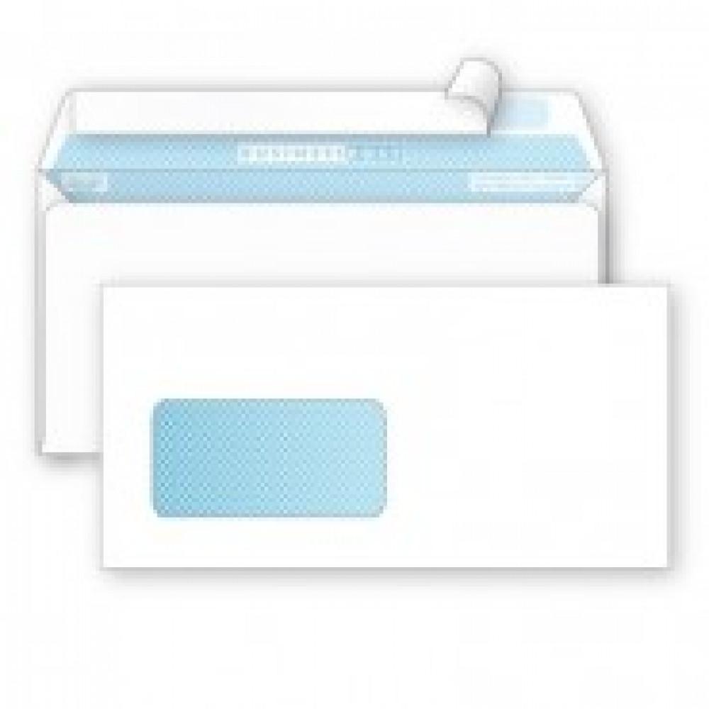Конверт BusinessPost E65 90 г/кв.м белый стрип с внутренней запечаткой с левым окном (1000 штук в упаковке)
