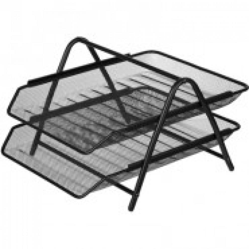 Лоток для бумаг Attache 2-х уровн.горизонт.металл сетка, 356x278x53м чёрный