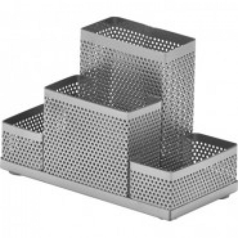 Подставка Attache 4х секц. для канц.прин.Башня ,мет.сет,160х110х80мм(сереб)