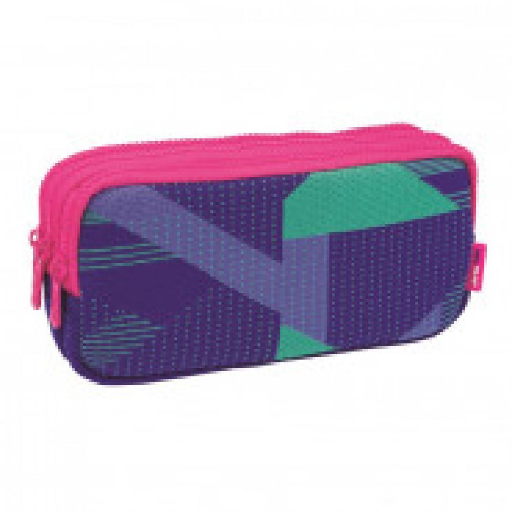Пенал Knit 3 отделения, без наполн фиолетовый 22x11x6,5см, 081135KNPL