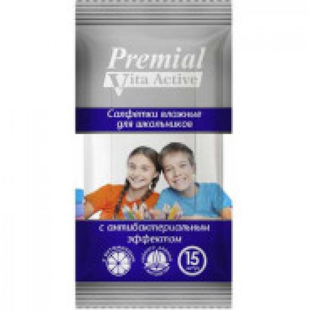 Влажные салфетки антибактериальные Premial Vita Active 15  штук в упаковке