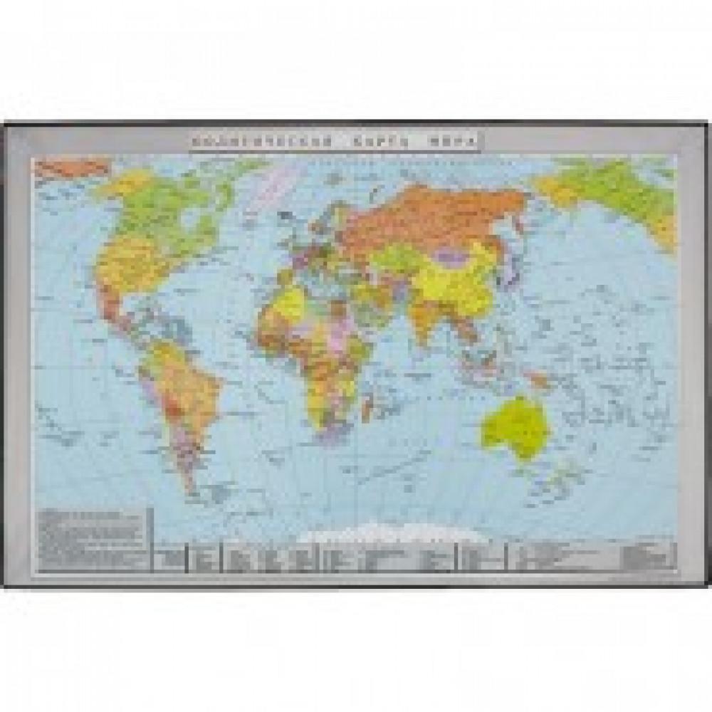 Коврик на стол Attache 38x58см Политическая карта мира черный 2129.1