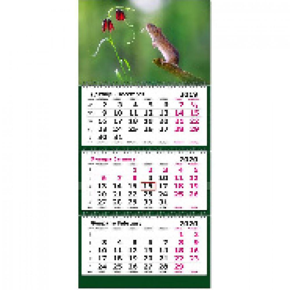 Календарь настен, 2020, 305х675,Символ года с цветочком, 3 спир,80г/м2, KB