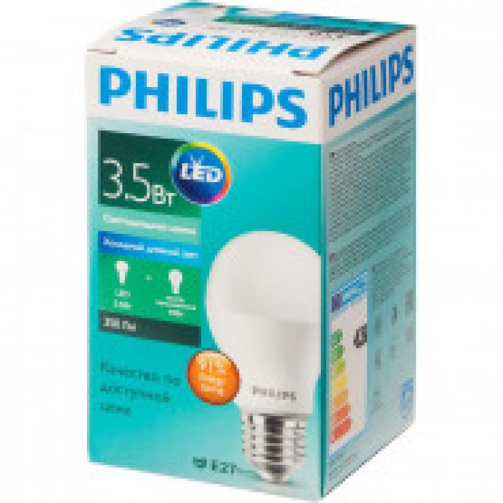 Лампа светодиодная Philips 3.5W E27 6500k хол.бел. станд.колба