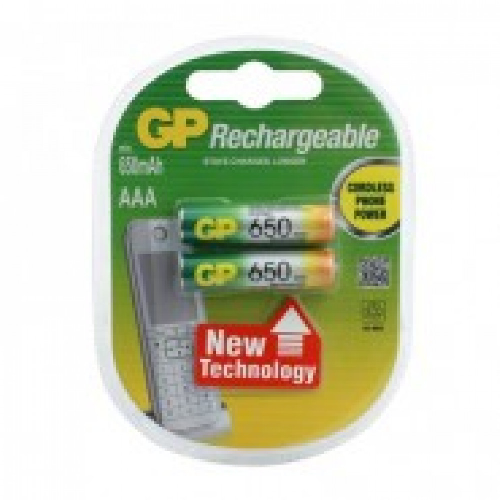 Аккумулятор GP 650mAh AAA/НR03 NiMh (2 шт/бл) GР65ААААНС-2СРСR2