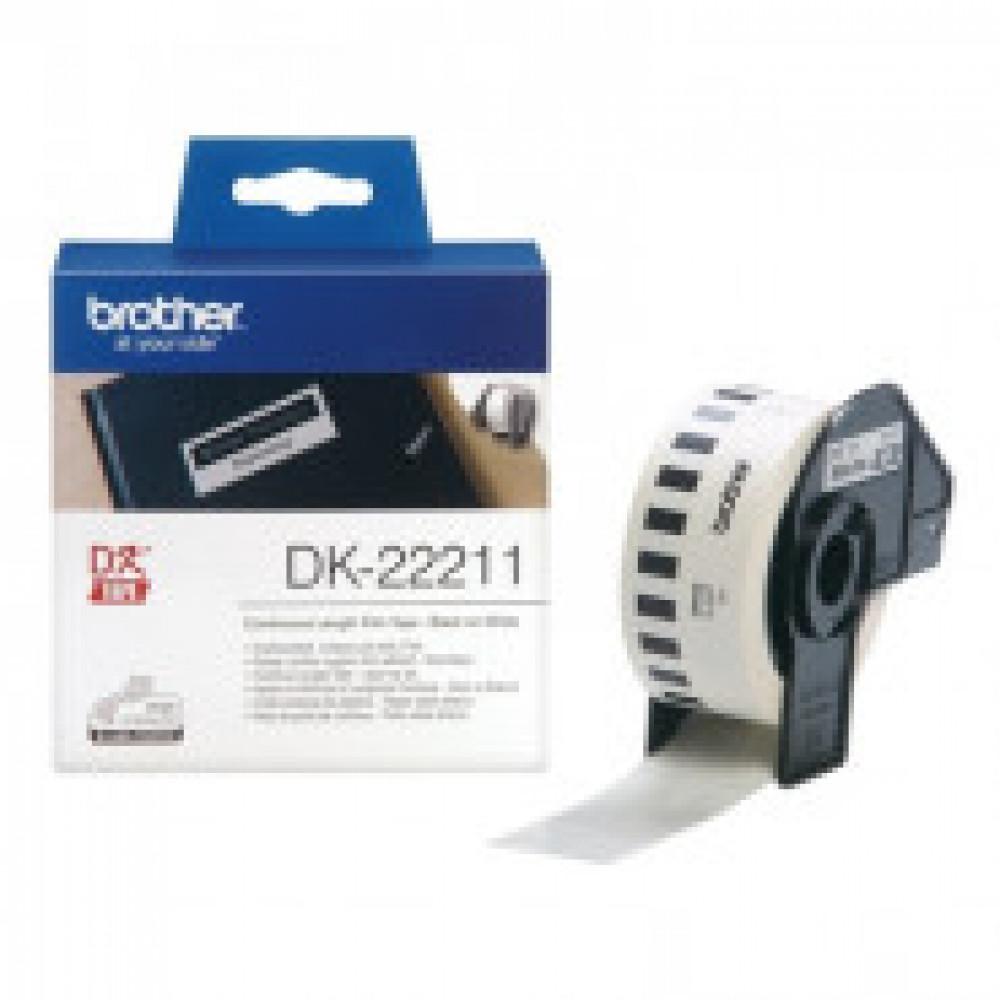 Картридж к этикет-принтеру Brother DK-22211 29ммx15,24м чер/бел для QL