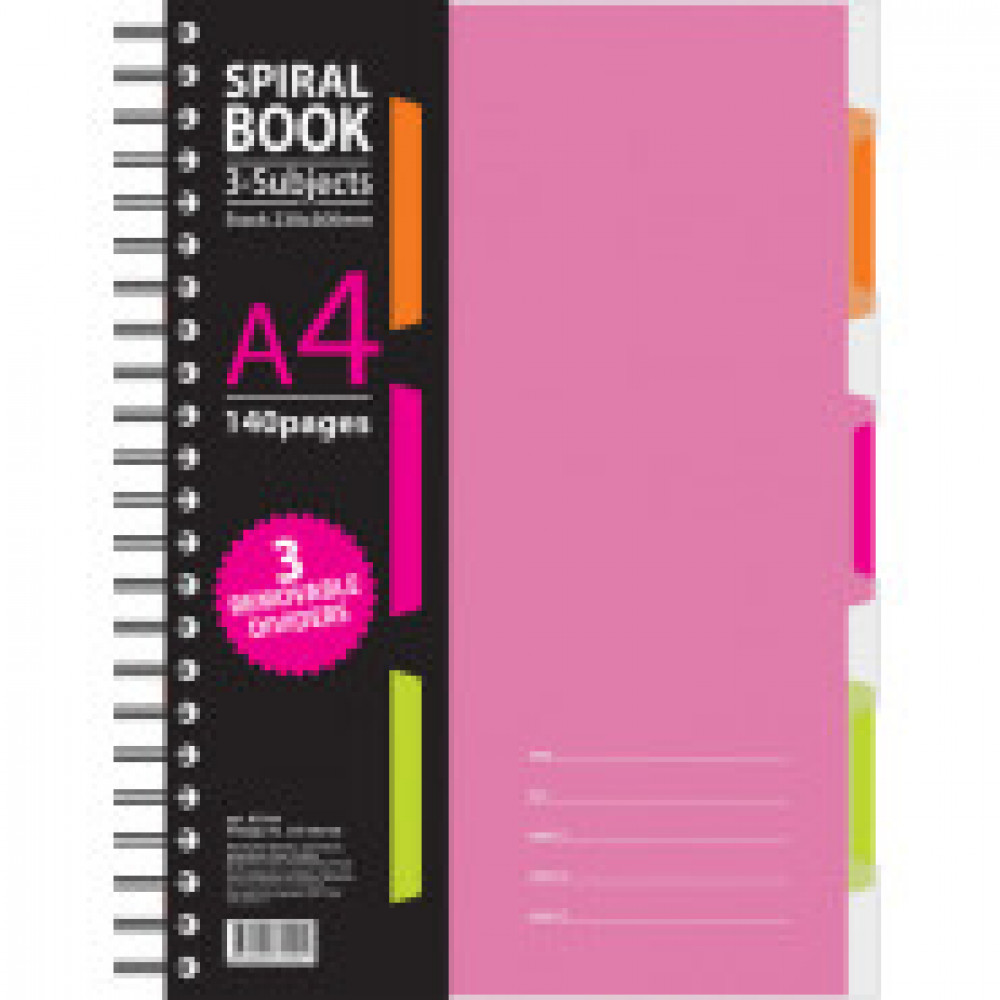 Бизнес-тетрадь 140л,кл,А4,SPIRAL BOOK Розовый,евроспир,обл.пласт,разд.84105