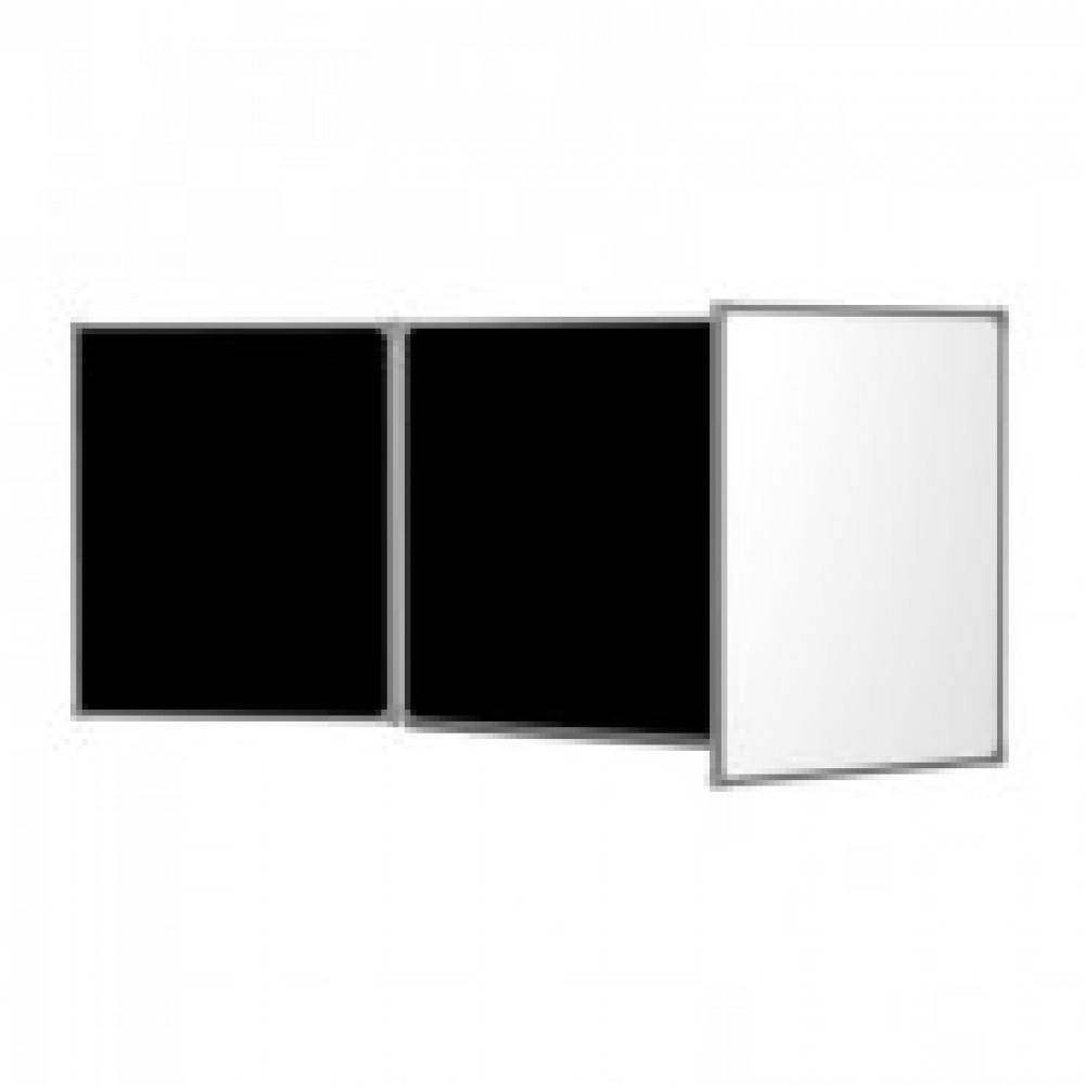 Доска магнитно-комбинированная меловая 3-эл.100x300 см(2-створч)черный(бел)