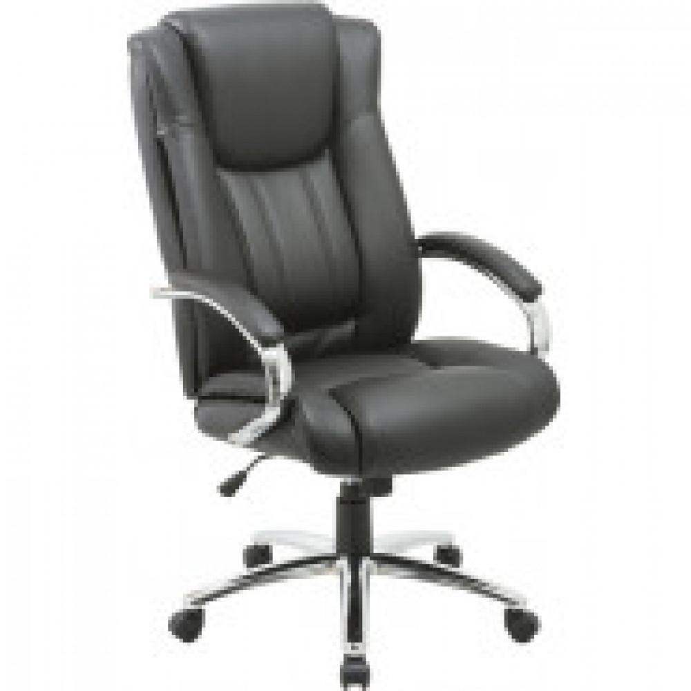 Кресло BN_Dt_EChair-561 TR рец. кожа черная, хром