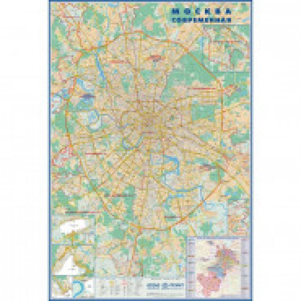 Настенная карта Москва современная с каждым домом 1,6х2,33м.,1:24тыс.