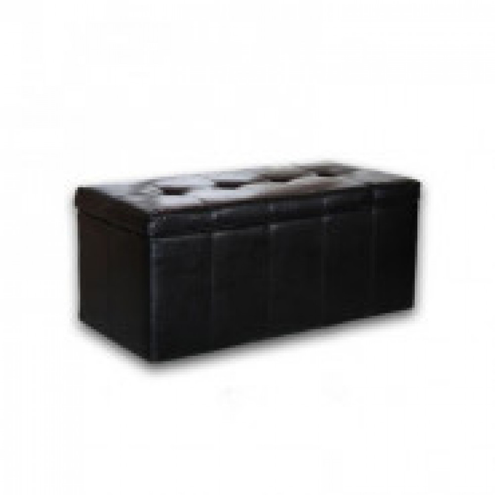 Мягкая мебель ЭТ_Пуф Лонг, к/з черный глянцевый KOL 900