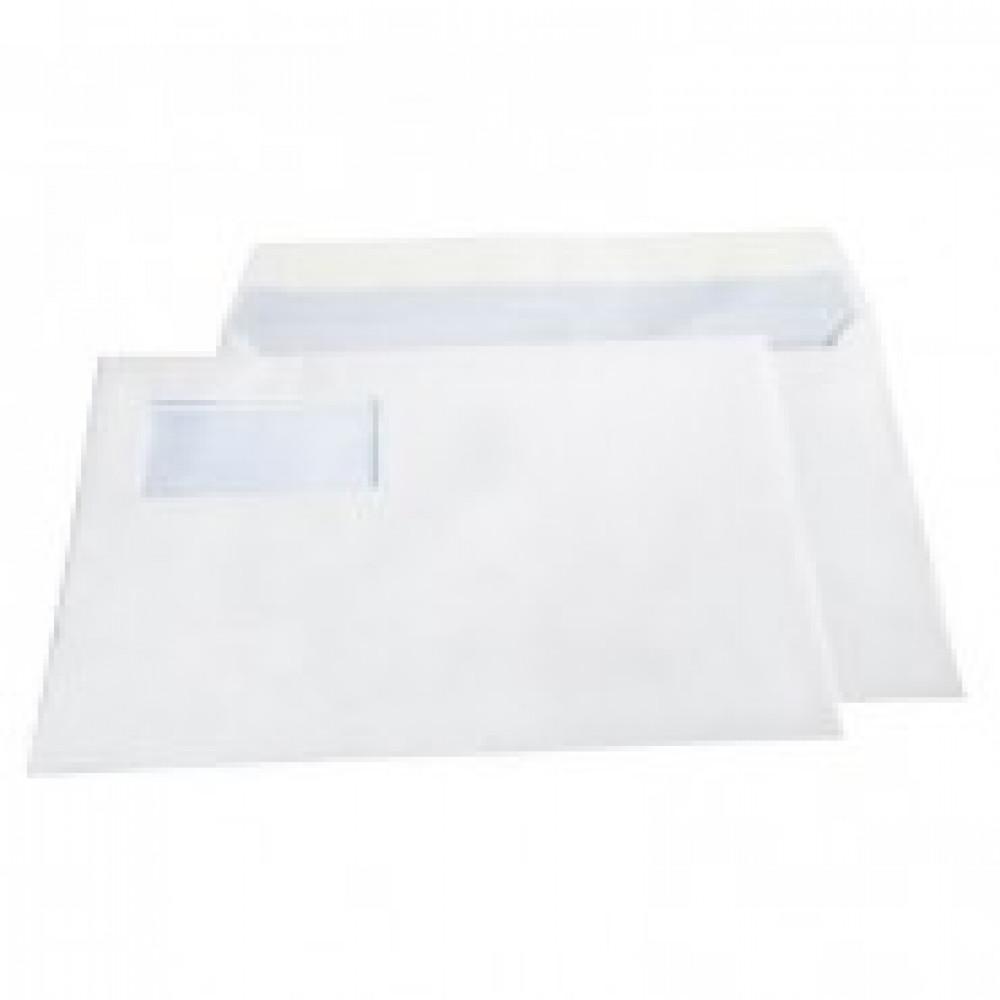 Конверт BusinessPost C4 100 г/кв.м белый стрип с внутренней запечаткой с левым окном (250 штук в упаковке)