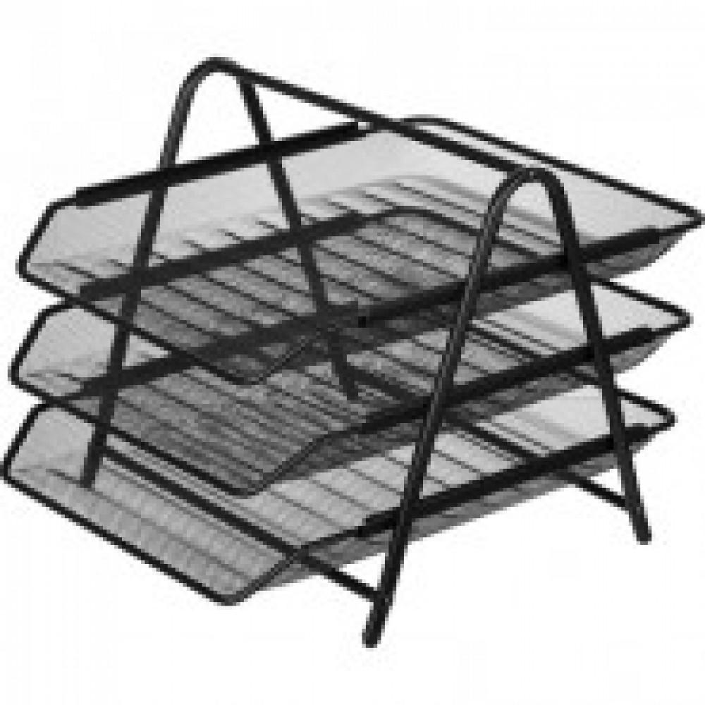 Лоток для бумаг Attache 3х секц. горизонт., металл. сетка, выс.267мм чёрный