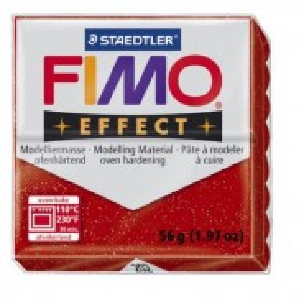 Глина полимерная красная с блестками,57гр,запек в печке,FIMO,effect,8020-20