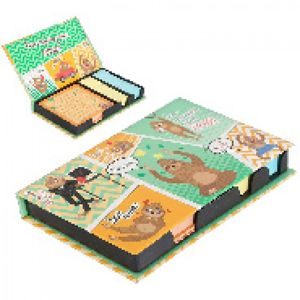 Блок-кубик в футляре Расслабься:100 листов и 2 набора стикеров 3374561