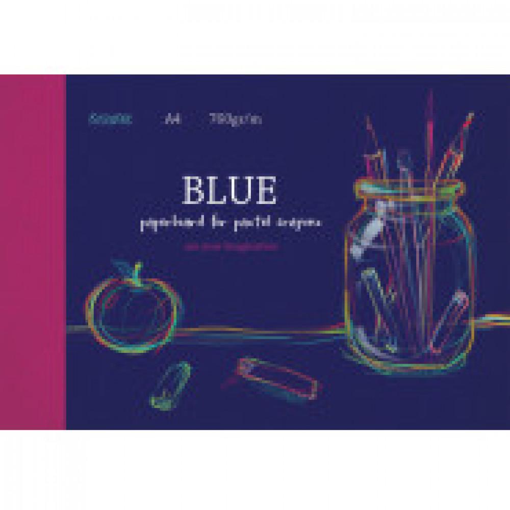 Альбом для рис. пастелью А4 10л, блок синий 760 гр/м, обл. мел.картон 7521