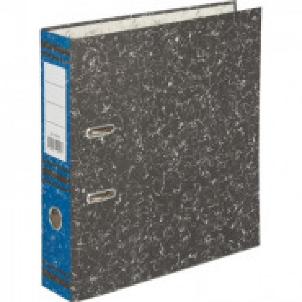 Папка-регистратор 75 мм (+/- 5 мм)мрамор,мет.уг.,синий корешок