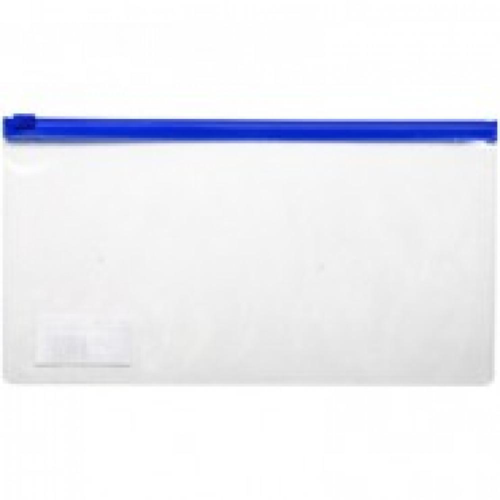 Папка-конверт на zip-молнии 245x135 мм синяя 110 мкм (для билетов)