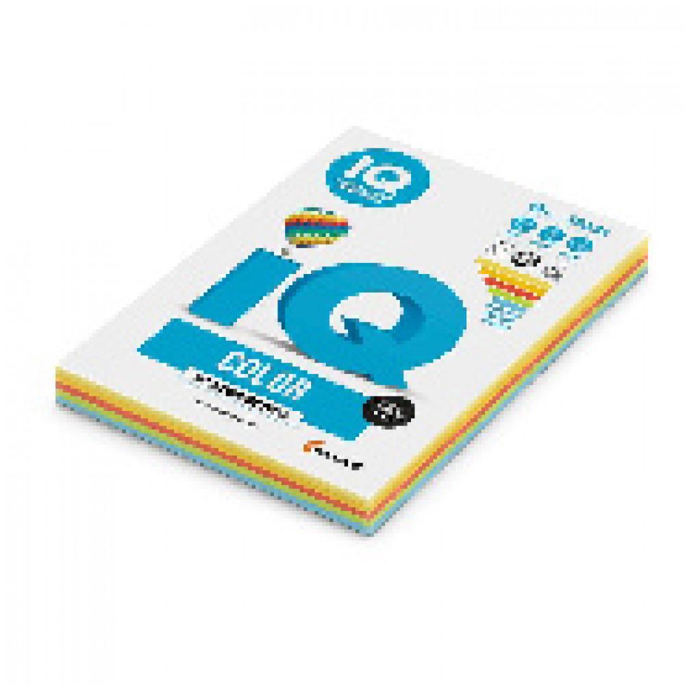 Бумага цветная для печати IQ Color 5 цветов интенсив RB02 (A4, 80 г/кв.м, 250 листов)