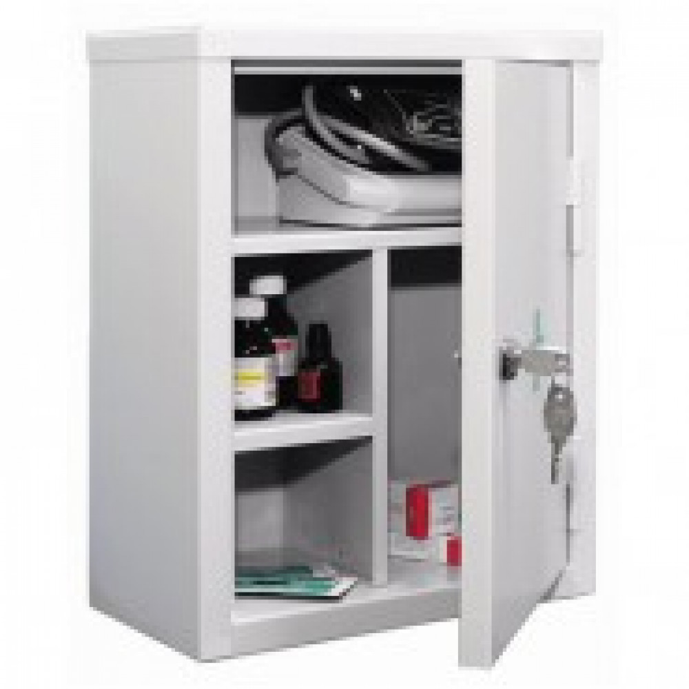 Аптечка металлическая P_АМ-1 св.серый, ключ. замок 300х160х380